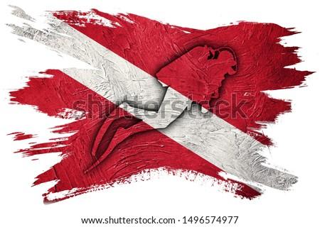 Diver Down Flag, Diver Silhouette, Vintage Style  Scuba flag. #1496574977