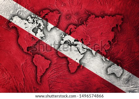 Diver Down Flag, World Map Scuba flag.  #1496574866