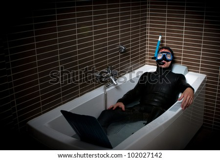 diver in bathroom during economy crisis
