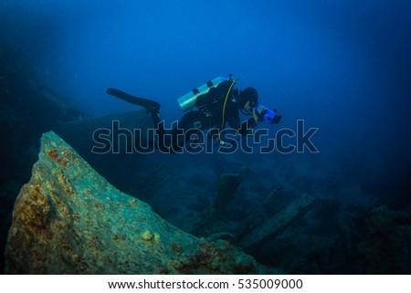 Diver on British military transport ship sunk during World War II #535009000