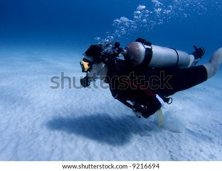 Diver over white sand in the Caribbean Sea #9216694