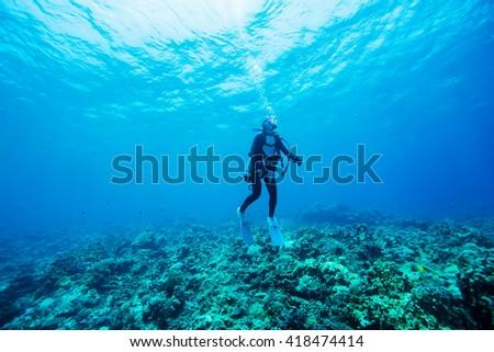 Diver Underwater #418474414