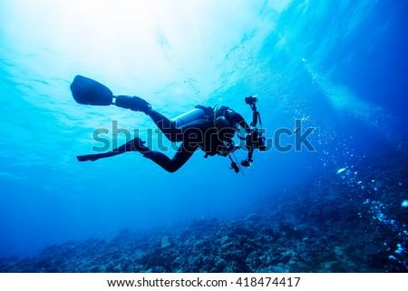 Diver Underwater #418474417
