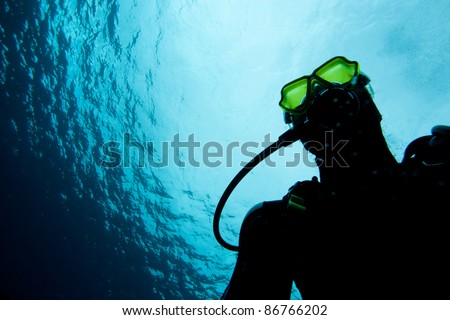 Diver underwater with reflection mask