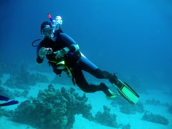 diver with camera in deep. underwater photographer