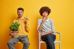 Diverese woman and man sit separately on chairs wait in queue isolated over yellow background. Surprised guy in sweatshirt holds cactus points above tells about something amazing poses near wife