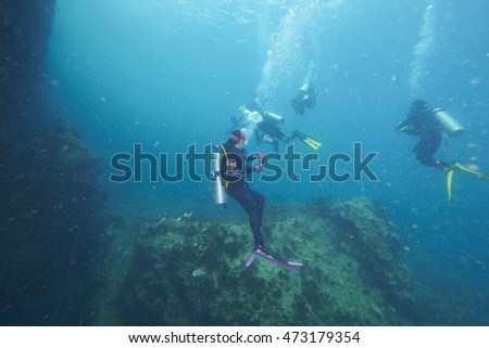 Divers and coral reef underwater with sea fish #473179354