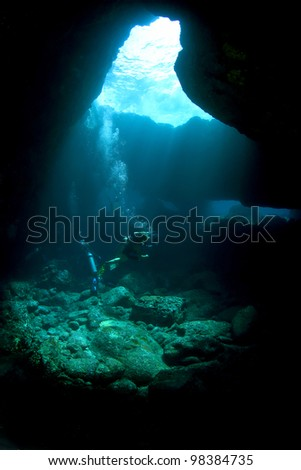 Divers in a Lava tube in Kona Hawaii