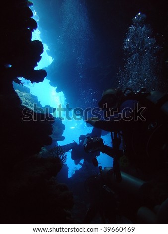 Divers in underwater canyon - stock photo