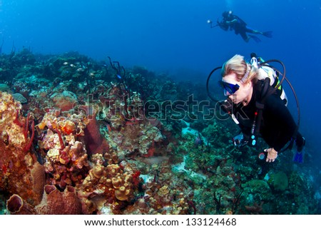 Divers on a reef on St Lucia with a Photographer #133124468