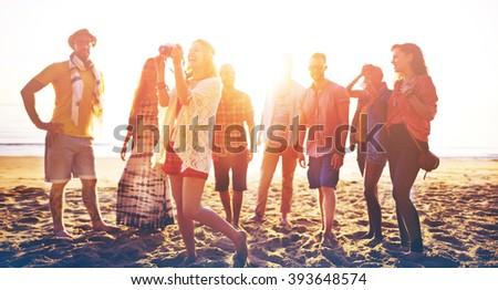 Diverse Beach Summer Friends Fun Bonding Concept #393648574