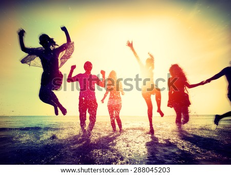 Diverse Beach Summer Friends Fun Running Concept #288045203