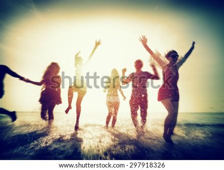 Diverse Beach Summer Friends Fun Running Concept #297918326
