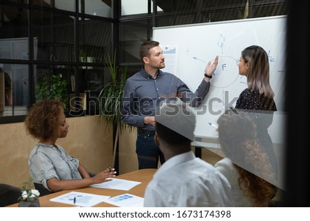 Diverse business coaches presenting marketing plan on flip chart, explaining project strategy, plan to multiracial employees team, Asian businesswoman and Caucasian businessman holding briefing