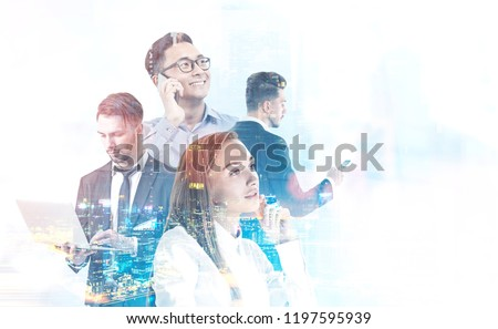 Diverse business team managers with gadgets over night cityscape background. International company concept. Toned image double exposure mock up
