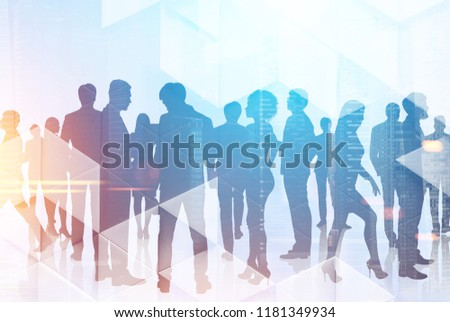 Diverse business team members standing together over cityscape background and triangular pattern in the foreground. Business success concept. Toned image double exposure mock up