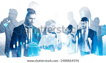 Diverse business team working together in city with double exposure of forex graphs. Concept of stock market and teamwork.