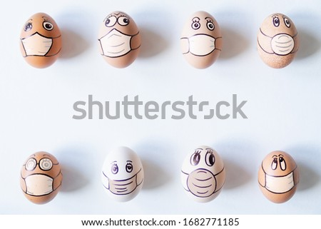 Diverse chicken eggs with doodle faces wearing medical masks. Conceptual image of pollution and epidemy