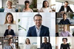 Diverse colleagues engaged in webcam conference, discuss business ideas online together, multiracial businesspeople talk on video call, have online web briefing with work team, using modern app