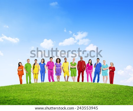 Diverse Colorful People Confidence Outdoors Team Organization Variation