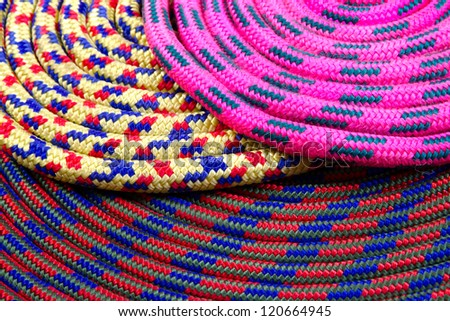 Diverse colouring, colourful climbing rope