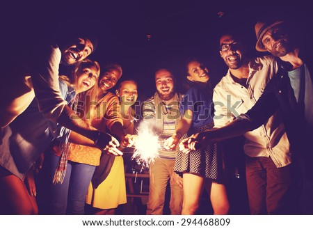 Diverse Ethnic Friendship Party Leisure Happiness Concept