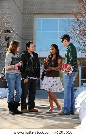 Diverse Group of College Students in the University Campus