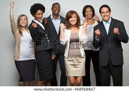 Diverse Group of Excited People