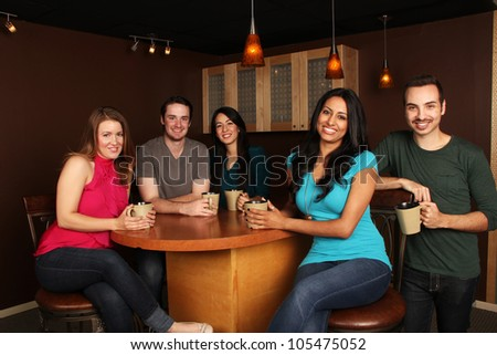 Diverse Group of Friends at the Cafe