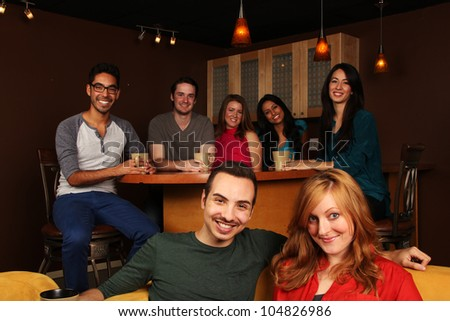 Diverse Group of Friends in Cafe