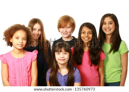 diverse group of kids smiling on white background