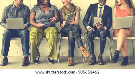 Diverse Group of People Community Togetherness Technology Sitting Concept - Shutterstock ID 505651462
