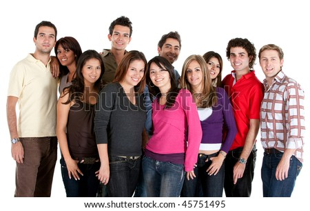 Diverse group of people looking happy isolated on white