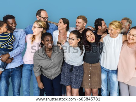 Diverse Group of People Together Studio Portrait #605845781