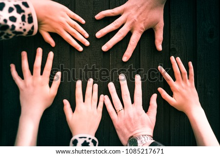 diverse group of six hands  x...