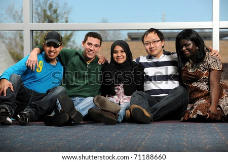 Diverse group of young people smiling