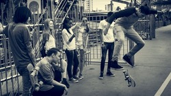 Diverse Group People Skateboard Park Concept