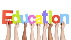 Diverse Hands Holding The Word Education