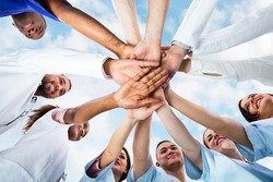 Diverse Medical Team Staff Hands Stack Outdoors