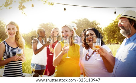 Diverse Neighbors Drinking Party Yard Concept #325113947