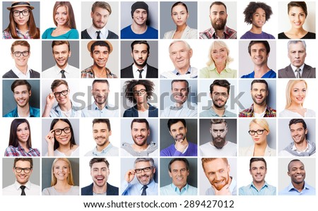 Diverse people. Collage of diverse multi-ethnic and mixed age people expressing different emotions  Foto stock ©