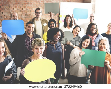 Diverse People Communication Speech Bubble Concept