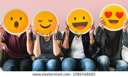 Diverse people covered with emoticons #1086568682