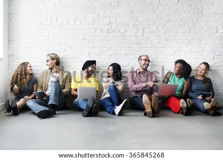 Diverse People Digital Device Connection Technology Concept