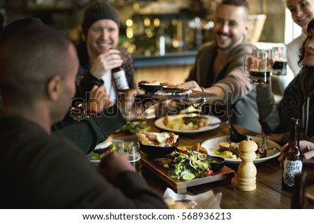 Diverse People Enjoy Food Drinks Party Restaurant #568936213