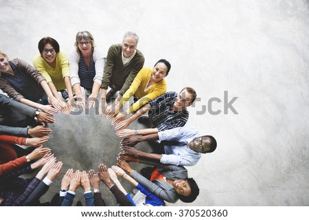 Diverse People Friendship Togetherness Connection Aerial View Concept #370520360