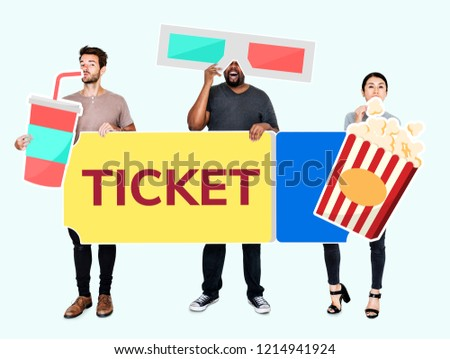 Stock Photo Diverse people holding movie icons