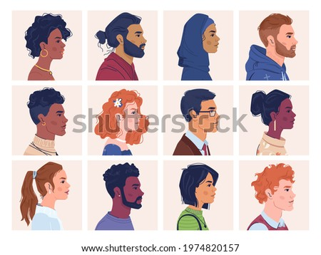 Diverse people, man and woman portraits, multiracial, multicultural crowd, side view portraits. multi-ethnic group, afro american and caucasian, africans and europeans, multinational ethnicity Stock foto ©