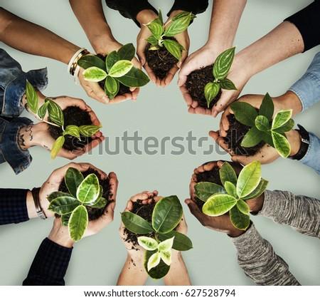 Diverse people plant environment