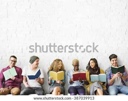diverse people reading books...